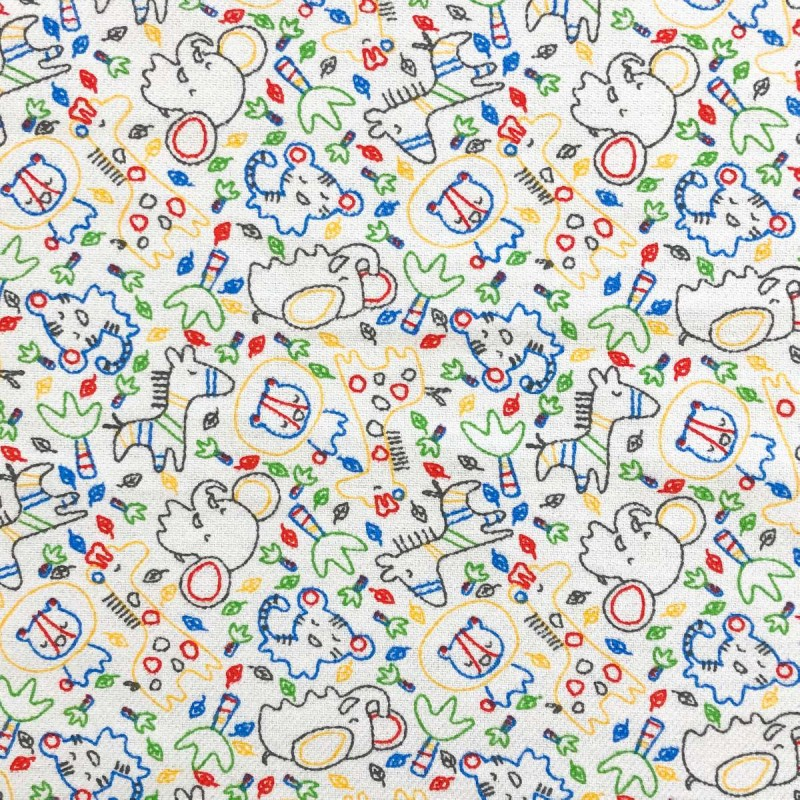 Flanela Cueira Estampada- Safari Colorido - 100% Algodão - Variante 1
