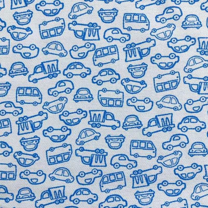 Flanela Cueiro Estampada - Carrinhos Azul - 100% Algodão - Variante 1