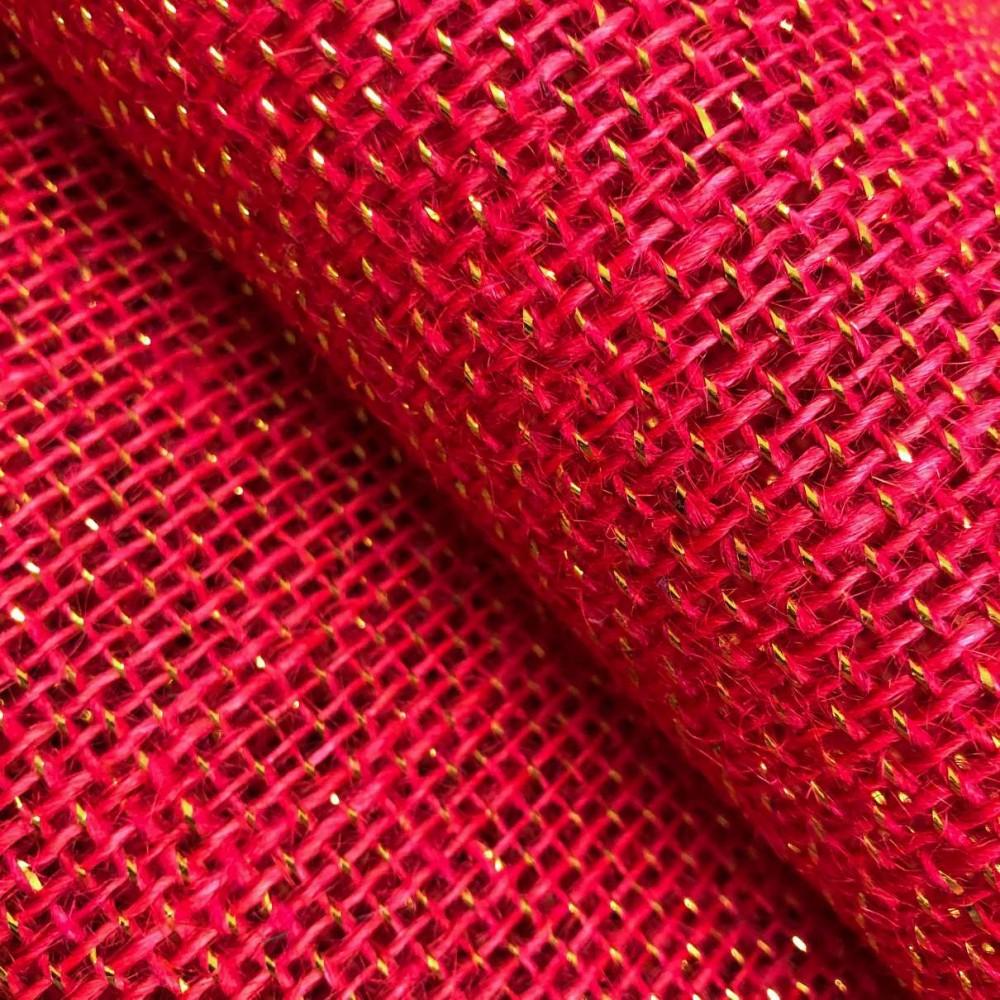 Juta Colorida - 100% Juta - 1,00m largura - Vermelho com ouro