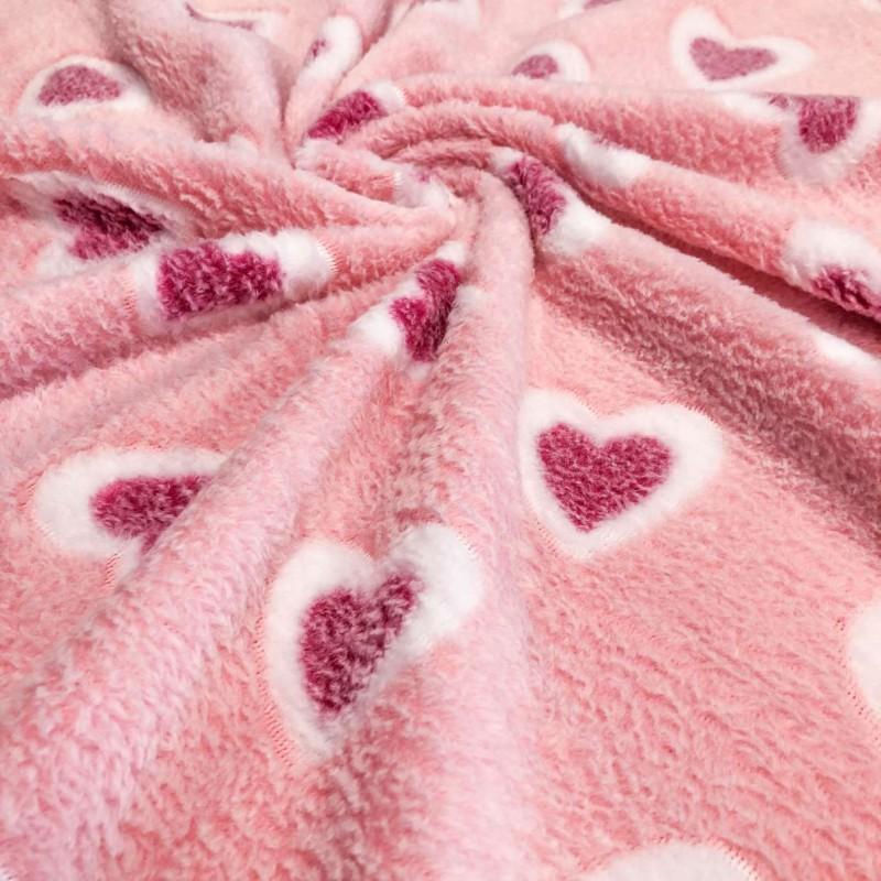 Manta Fleece - Coraçãozinho - 100% Poliéster - 1,60m de largura. - Cor 304