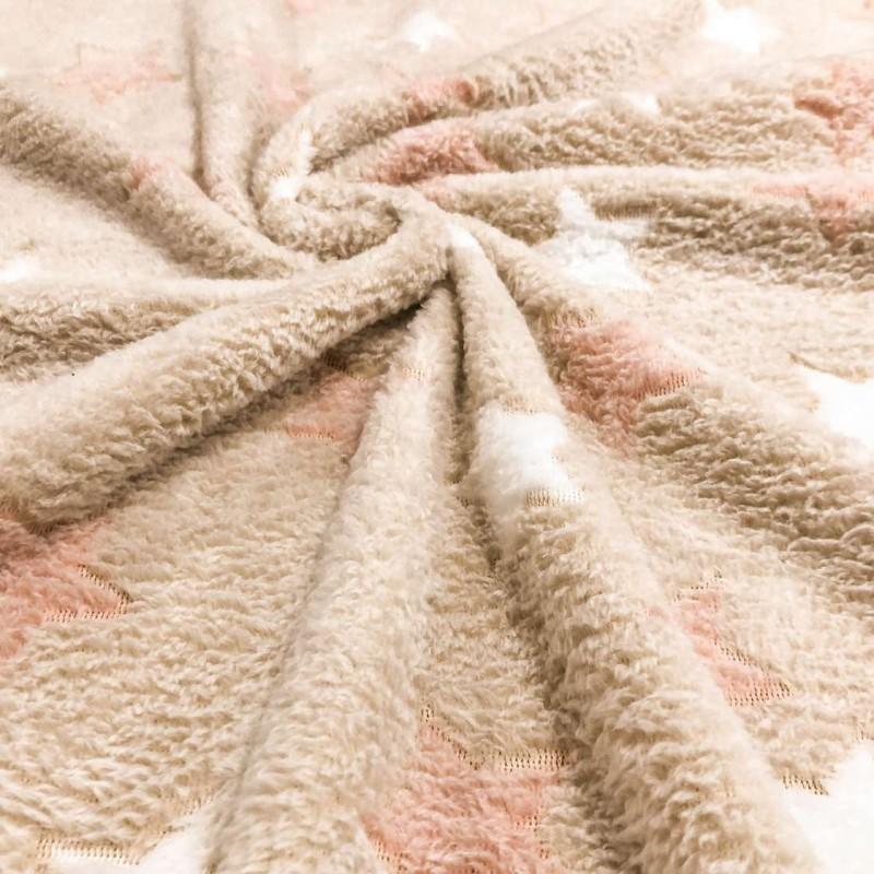 Manta Fleece - Estrelinhas - 100% Poliéster - 1,60m largura - Cor 205