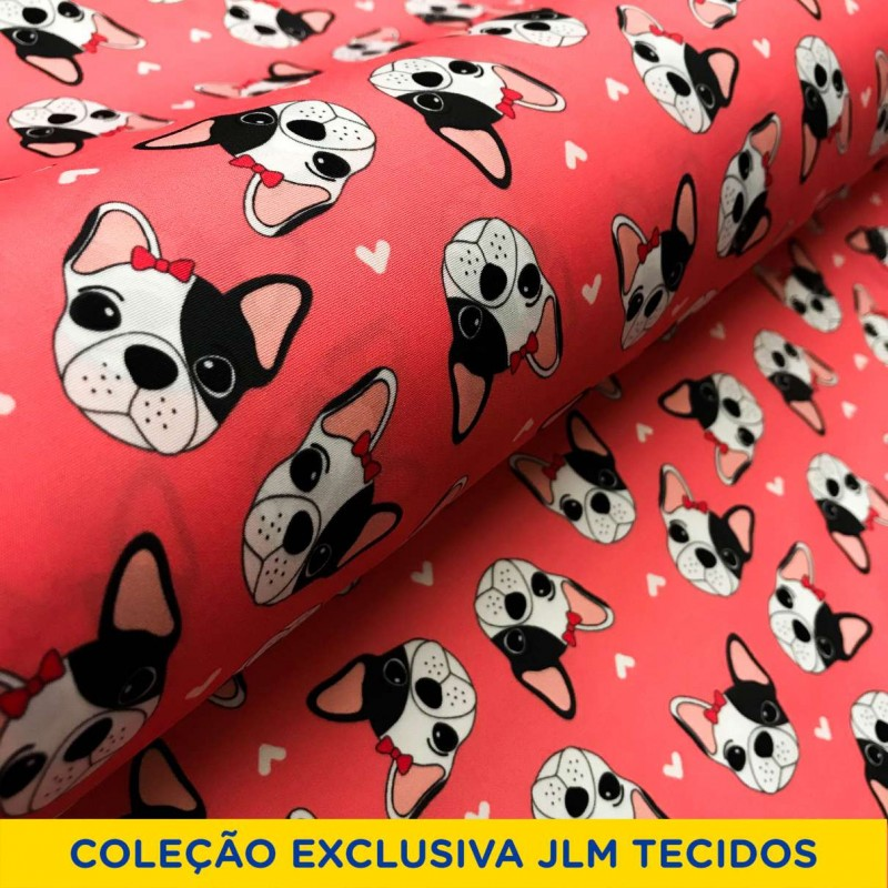 Microfibra Digital (Tactel) - Bulldog Girl - 100% Poliéster - Variante 1