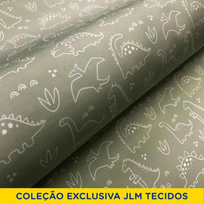 Microfibra Digital (Tactel) - Dinossauros - 100% Poliéster - Variante 1