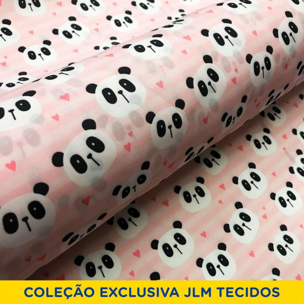 Microfibra Digital (Tactel) - Panda Rosa - 100% Poliéster - Variante 1