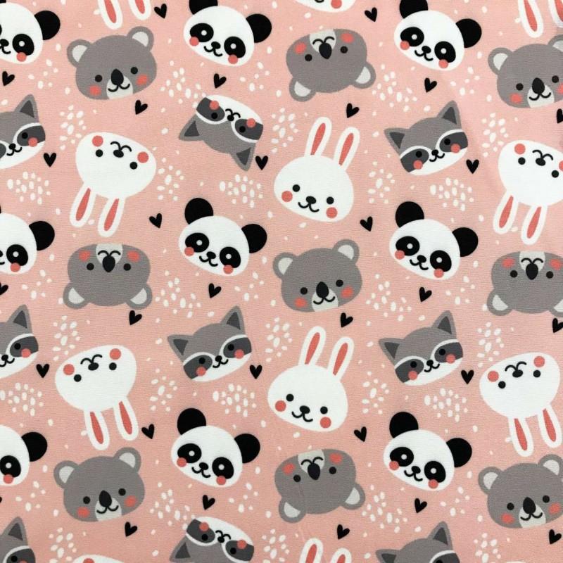 Microfibra Digital (Tactel) - Panda e Amigos - 100% Poliéster - Variante 1