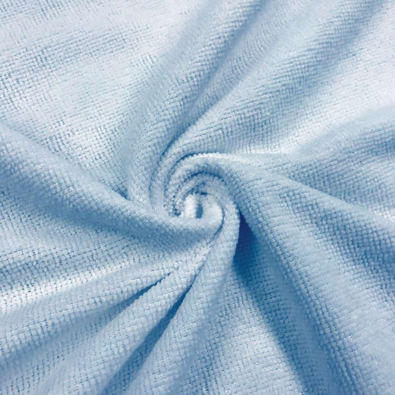 Microfibra Felpuda Lisa - 80% Poliéster 20% Poliamida - 1,45m Largura - Azul bebê