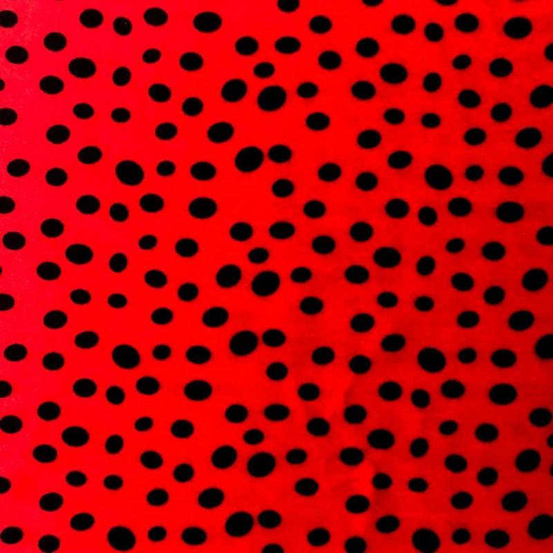 Pelúcia Velboa Estampada - Joaninha - 1,50m largura - Vermelho