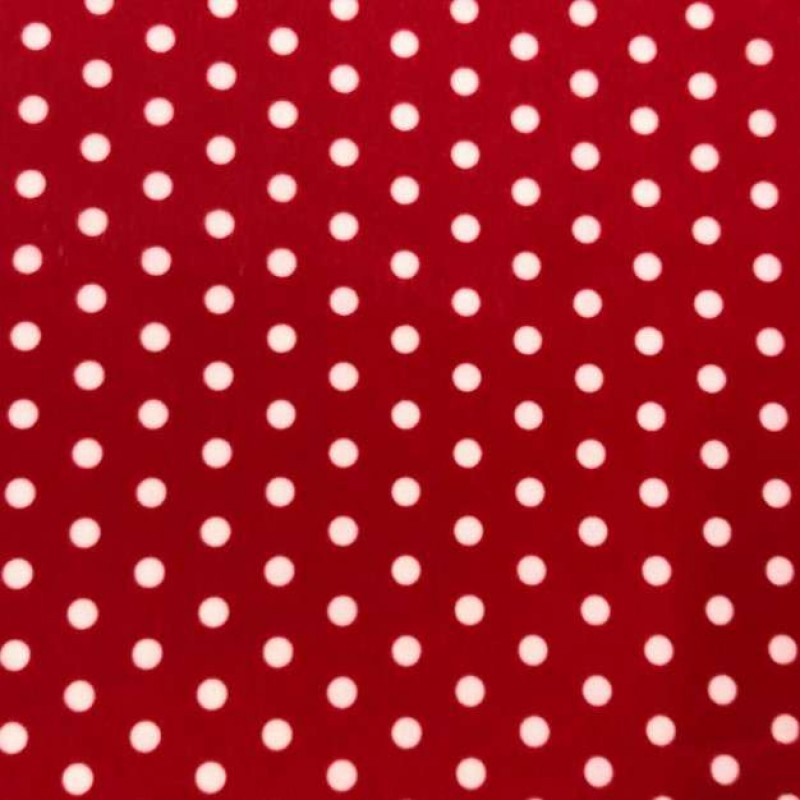 Pelúcia Velboa Estampada - Poá - 1,50m largura - Vermelho/branco