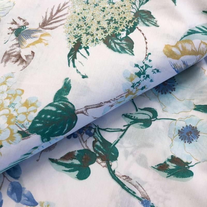 Tecido Percal 200 Fios Estampado - Floral Azulado - 2,50m largura - Variante 1