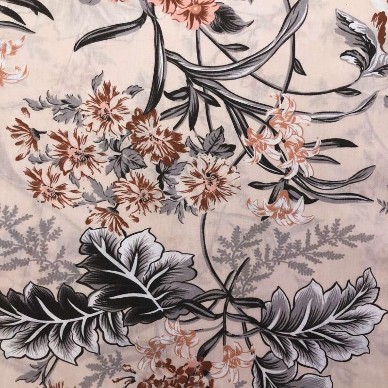 Tecido Percal 200 Fios Estampado - Flores e Folhangens - 2,50m Largura - Variante 1