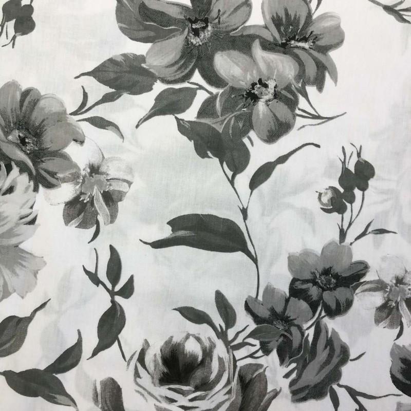 Tecido Percal 200 Fios Estampado - Rosas Cinzas - 2,50m Largura - Variante 1