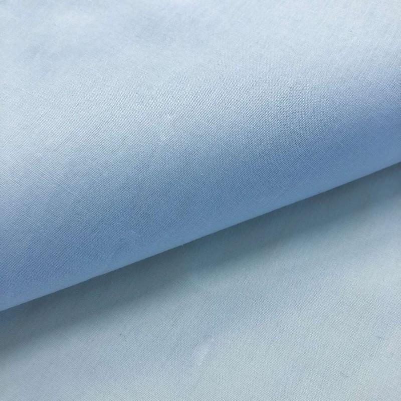 Tecido Percal 200 Fios Liso - 100% Algodão - 2,50m Largura - Azul bebê
