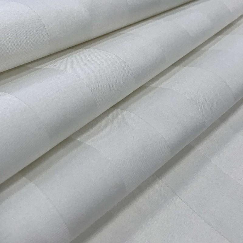 Tecido Percal 400 Fios Listrado - 100% Algodão - 2,80m largura - Branco