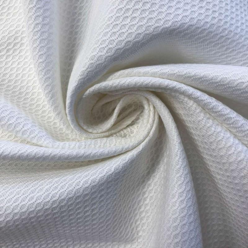 Tecido Piquet Grão de Arroz - 100% Algodão - 1,40m largura - Branco
