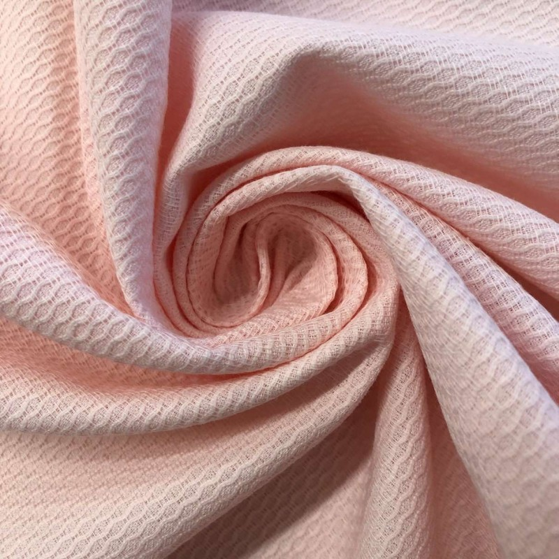 Tecido Piquet Grão de Arroz - 100% Algodão - 1,40m largura - Rosa bebê