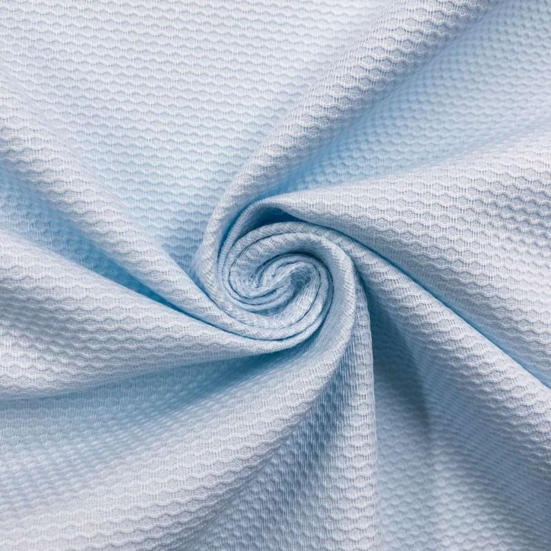 Tecido Piquet Grão de Arroz - 100% Algodão - 1,40m largura - Azul bebê