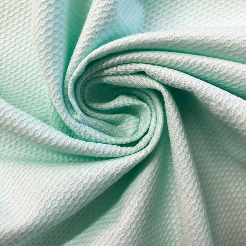 Tecido Piquet Grão de Arroz - 100% Algodão - 1,40m largura - Verde bebê