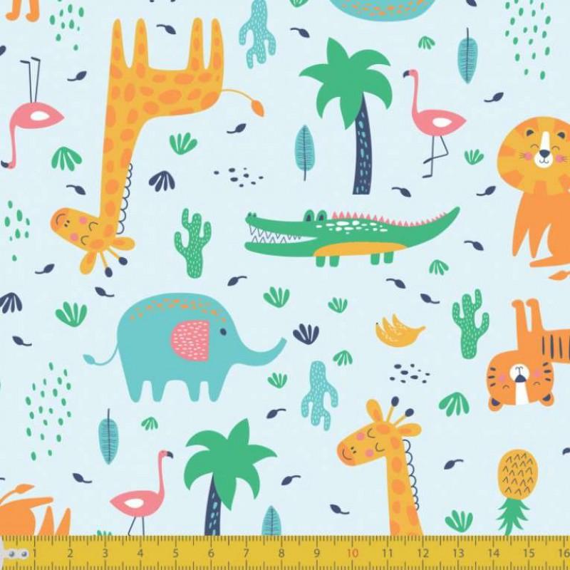 Tecido Tricoline - Cute Safari - 100% Algodão - 1,50m largura - Variante 1