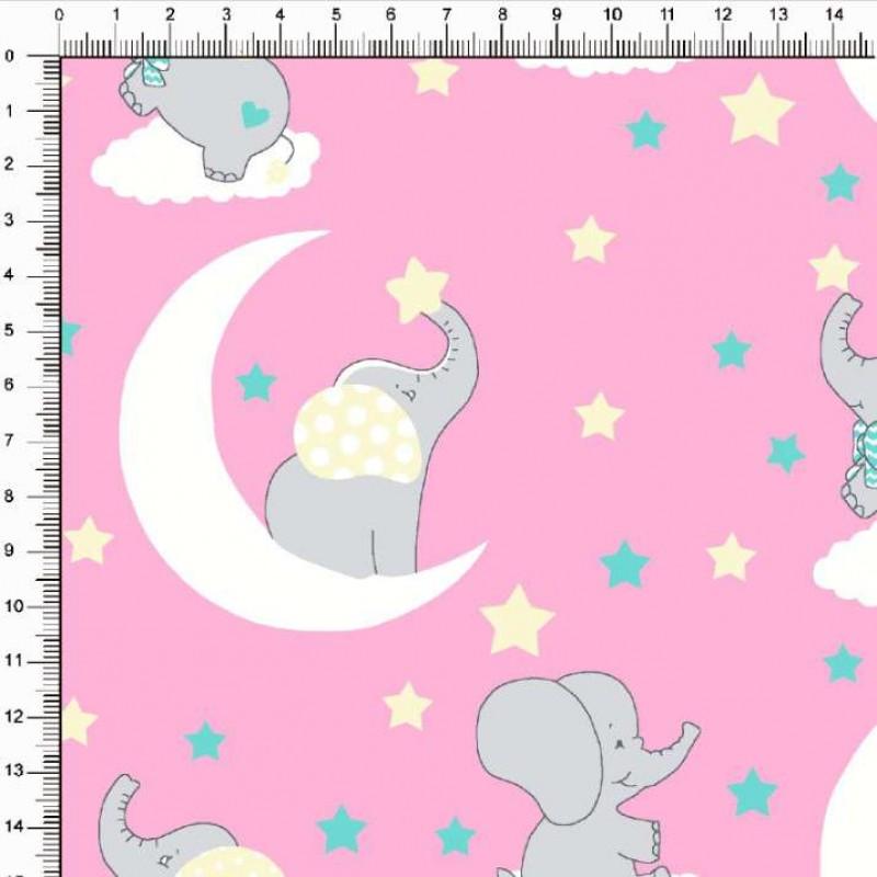 Tecido Tricoline Estampado - Baby Elefanta - 100% Algodão - 1,50m largura - Variante 1