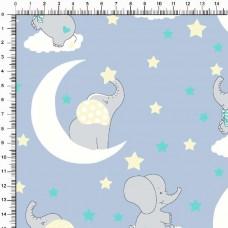 Tecido Tricoline Estampado - Baby Elefanta - 100% Algodão - 1,50m largura - Variante 3