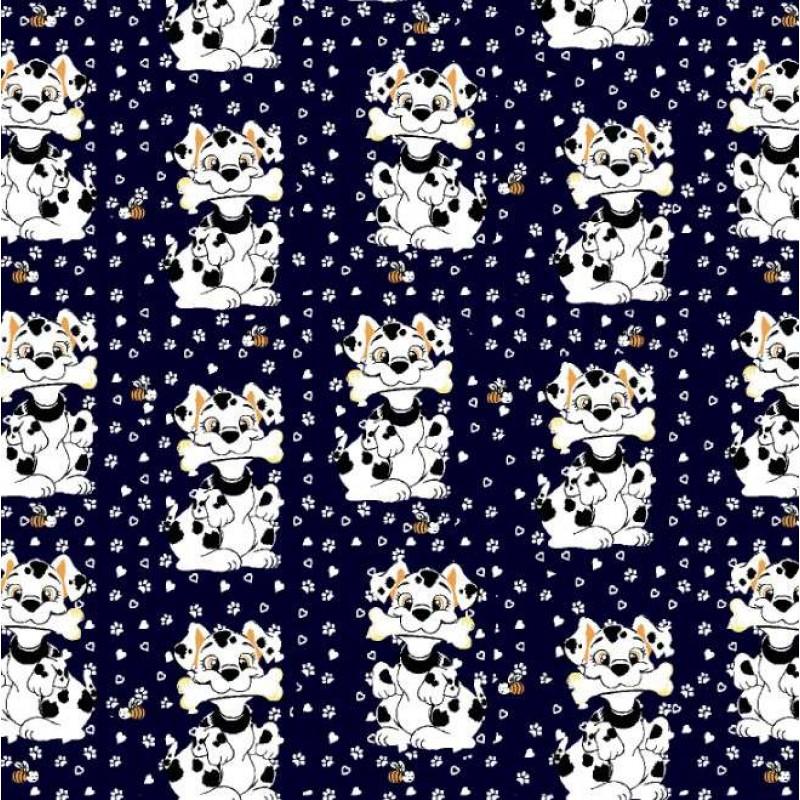 Tecido Tricoline Estampado - Cachorrinho Dalmata - 100% Algodão - 1,50m largura - Variante 3