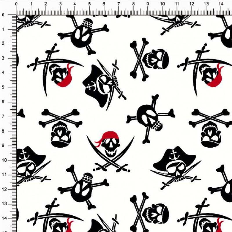 Tecido Tricoline Estampado - Caveira Pirata - 100% Algodão - 1,50m largura - Variante 1