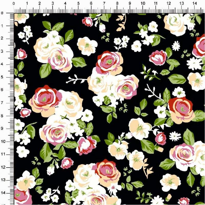 Tecido Tricoline Estampado - Floral Rosas fundo Preto - 100% Algodão - 1,50m largura - Variante 1