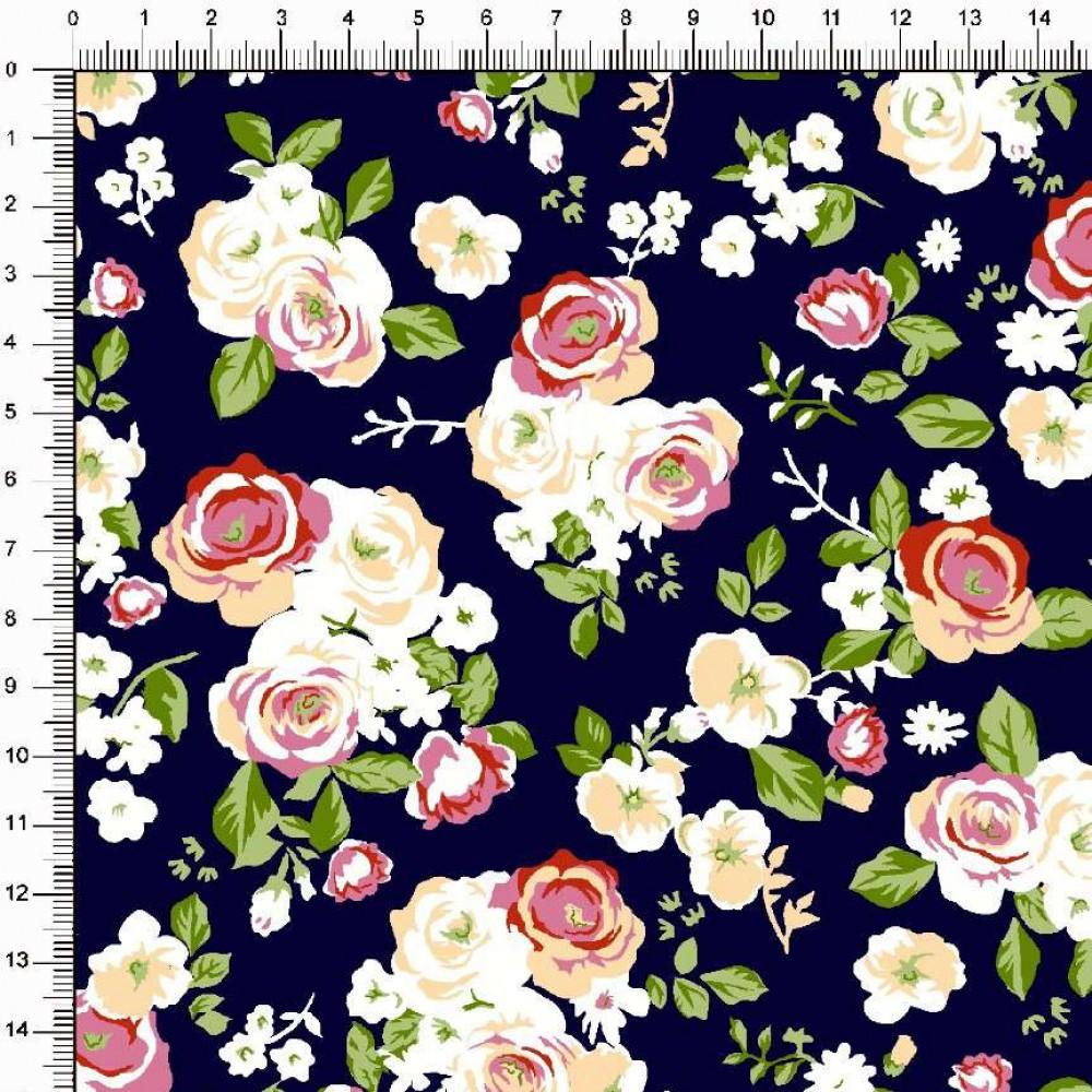 Tecido Tricoline Estampado - Floral Rosas - 100% Algodão - 1,50m largura - Variante 2