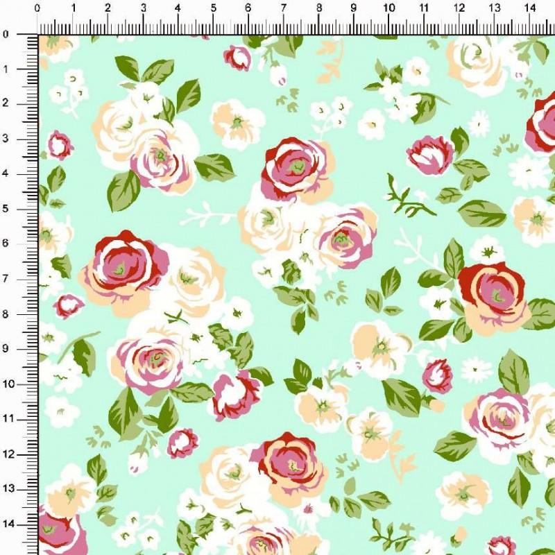 Tecido Tricoline Estampado - Floral Rosas fundo Preto - 100% Algodão - 1,50m largura - Variante 3