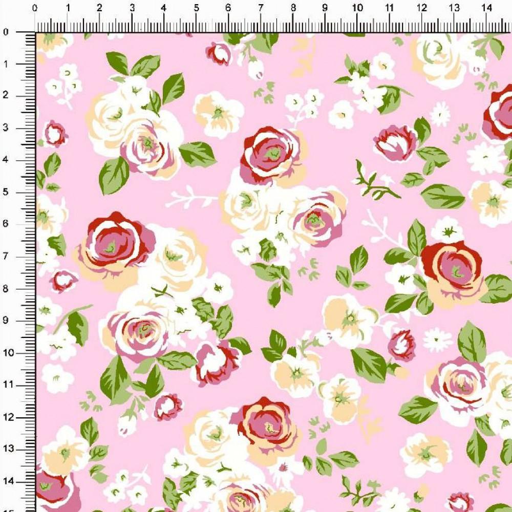 Tecido Tricoline Estampado - Floral Rosas fundo Preto - 100% Algodão - 1,50m largura - Variante 4
