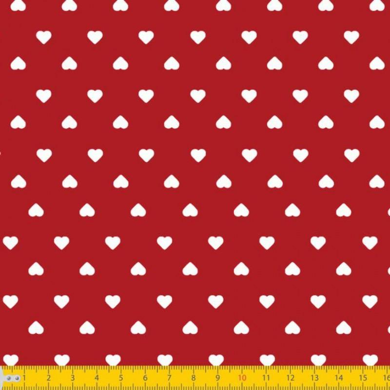 Tecido Tricoline Estampado - Mini Coração - 100% Algodão - 1,50m largura - Variante 106