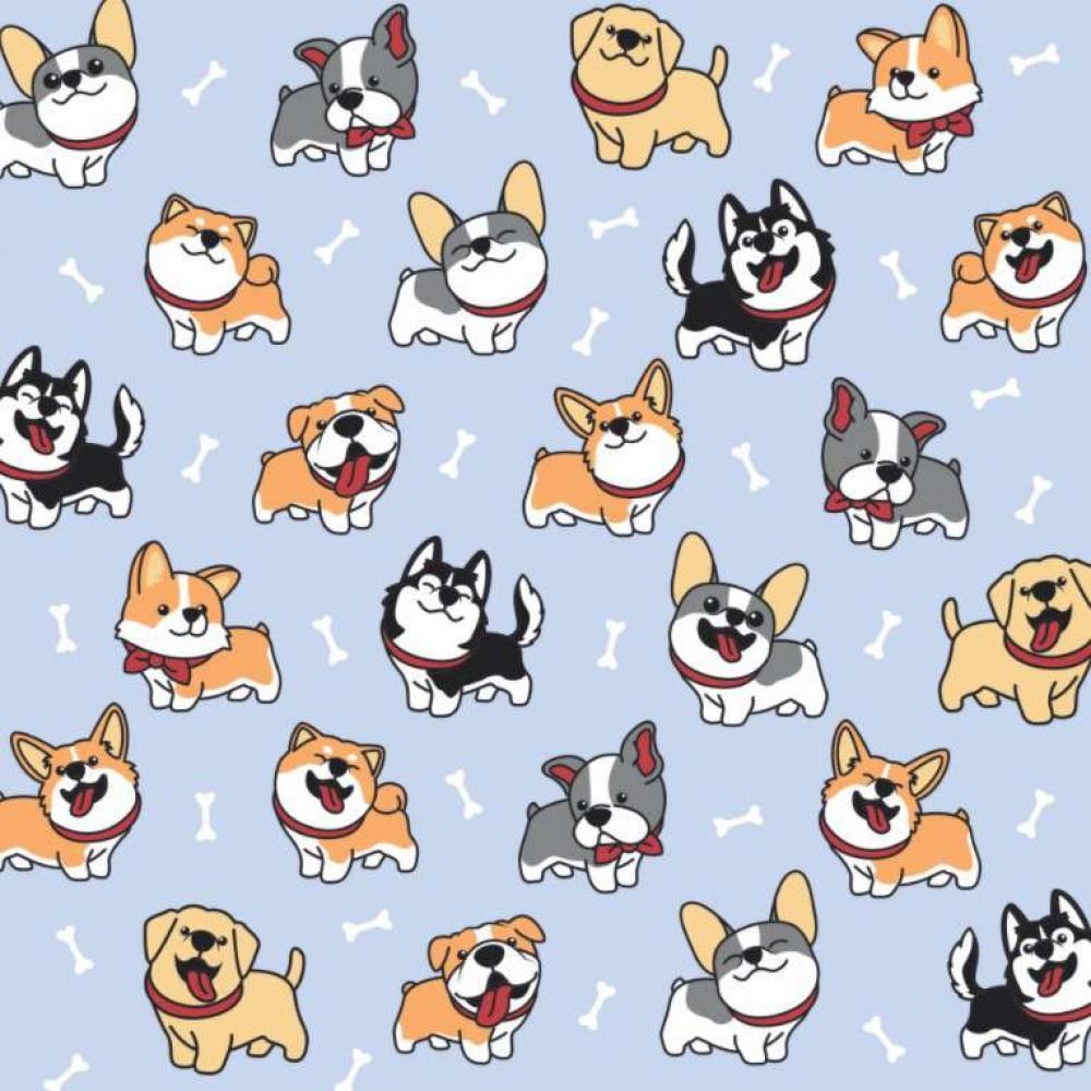 Tecido Tricoline - Happy Dog (Cachorrinhos) - 100% Algodão - 1,50m largura - Variante 1