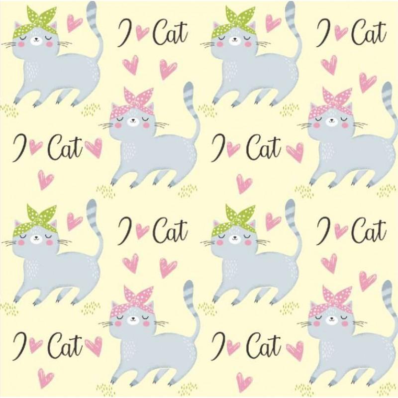 Tecido Tricoline - I Love Cat's - 100% Algodão - 1,50m largura - Variante 1