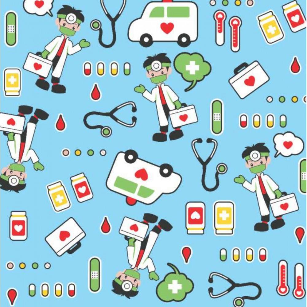 Tecido Tricoline - Médico e Enfermeiro S.O.S - 100% Algodão - 1,50m largura - Variante 1