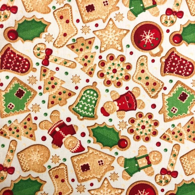 Tecido Tricoline Natal - Biscoito Natalino - 100% Algodão - 1,50m largura - Variante 1