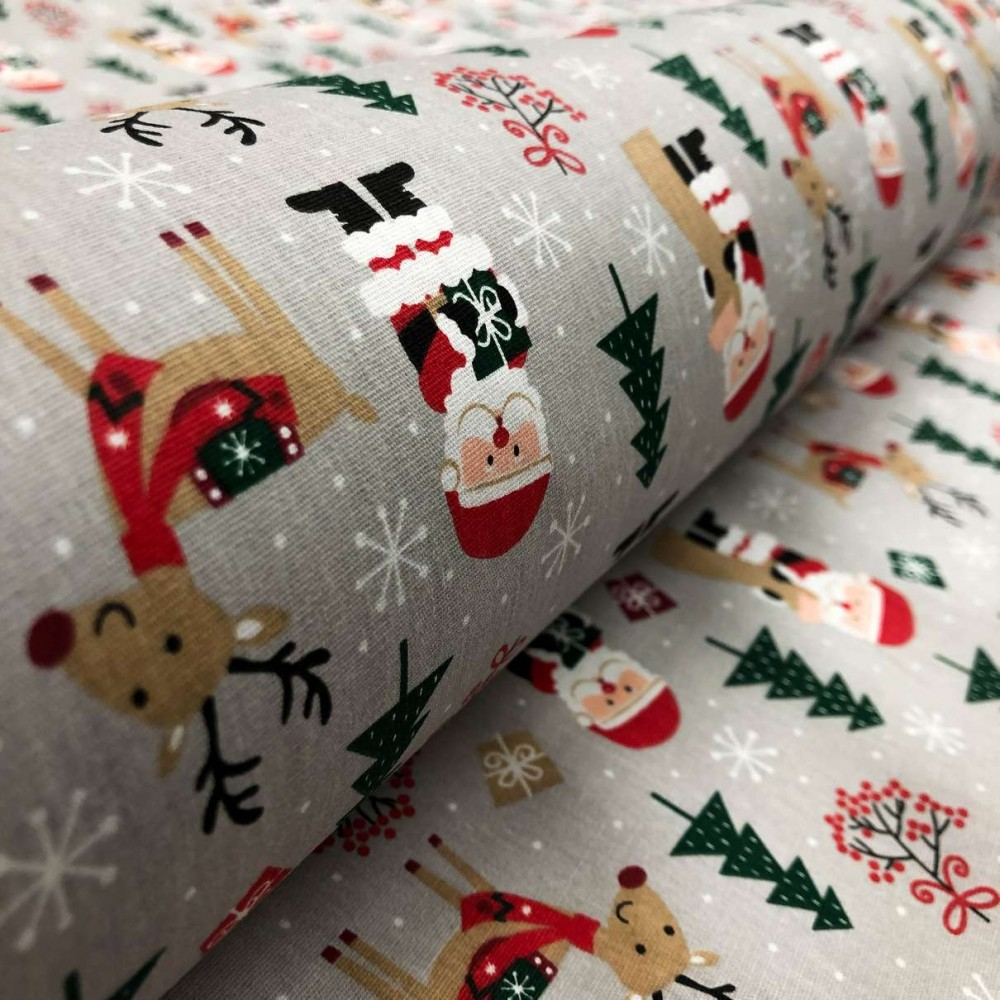 Tecido Tricoline Natal - Carta Papai Noel - 100% Algodão - 1,50m largura - Variante 1