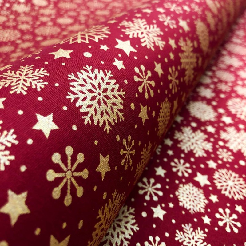 Tecido Tricoline Natal - Estrelas Glitter Dourado - 100% Algodão - 1,50m largura - Variante 58
