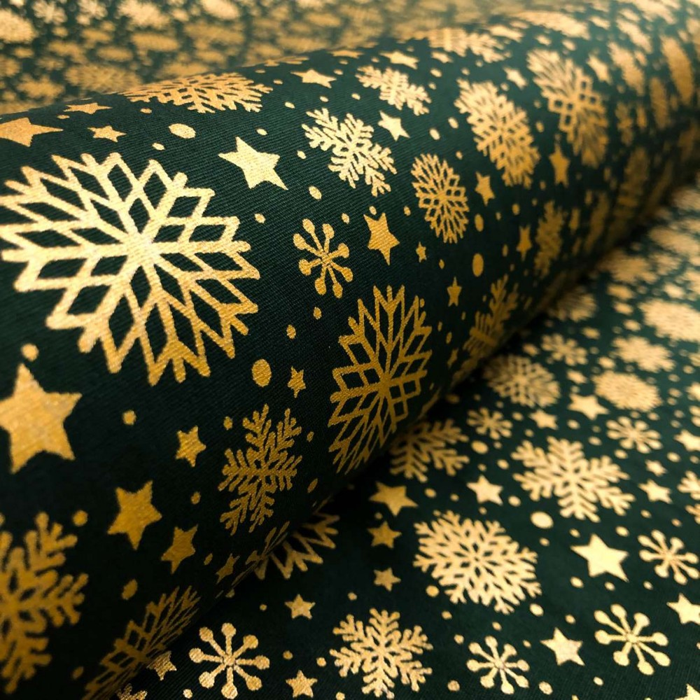 Tecido Tricoline Natal - Estrelas Glitter Dourado - 100% Algodão - 1,50m largura - Variante 59