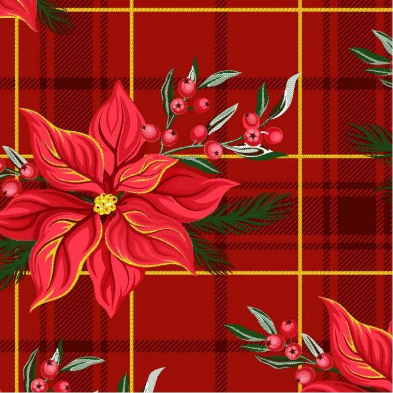 Tecido Tricoline Natal - Flor Natalina com Xadrez - 100% Algodão - 1,50m largura - Variante 1