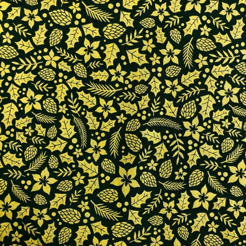 Tecido Tricoline Natal - Folhas Glitter Dourado - 100% Algodão - 1,50m largura - Variante 59