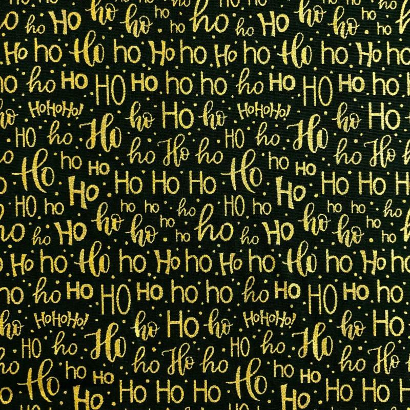 Tecido Tricoline Natal - HOHOHO Glitter Dourado - 100% Algodão - 1,50m largura - Variante 59