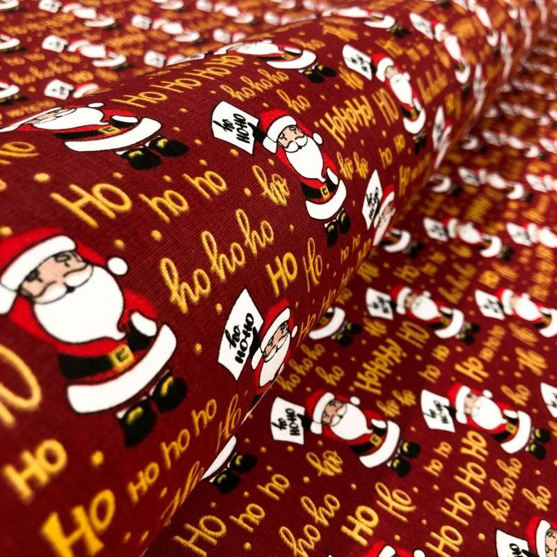 Tecido Tricoline Natal - Papai Noel HOHOHO - 100% Algodão - 1,50m largura - Variante 1