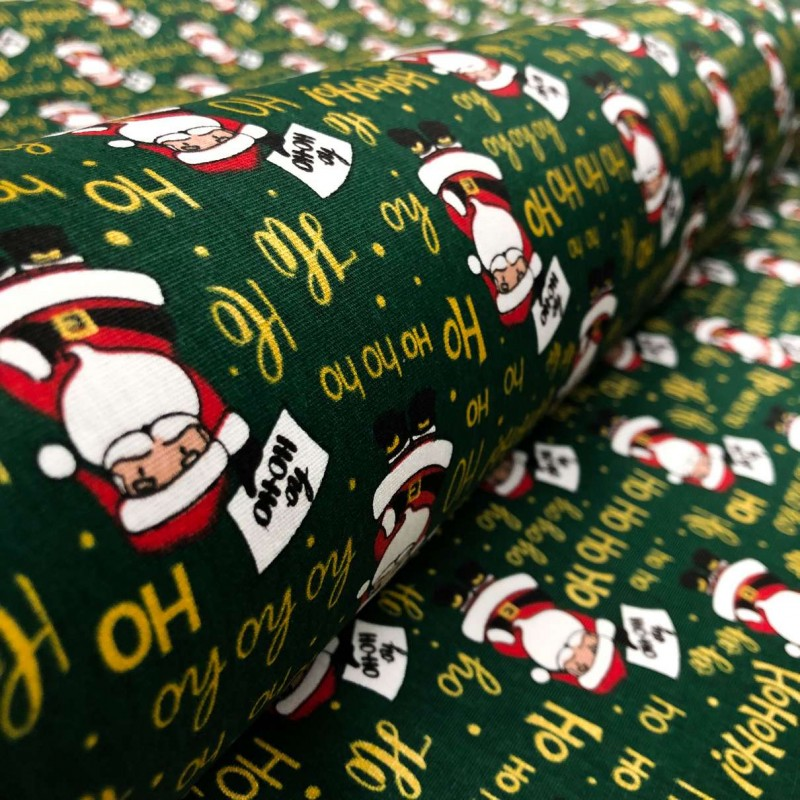 Tecido Tricoline Natal - Papai Noel HOHOHO - 100% Algodão - 1,50m largura - Variante 2