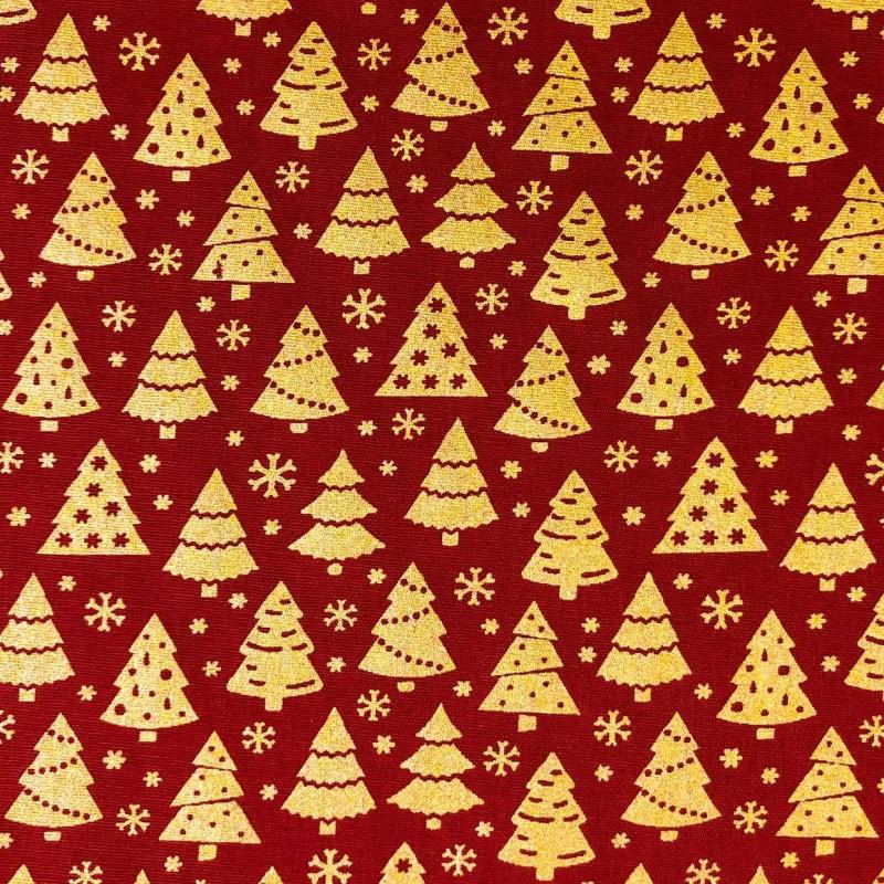 Tecido Tricoline Natal - Pinheiro Glitter Dourado - 100% Algodão - 1,50m largura - Variante 58