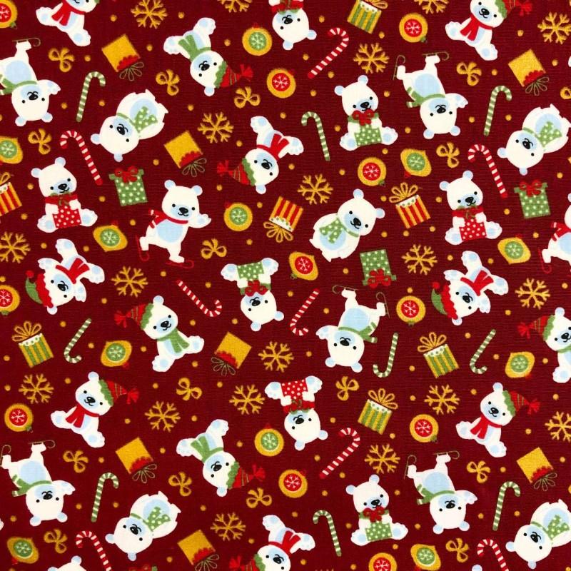 Tecido Tricoline Natal - Ursos Natalinos - 100% Algodão - 1,50m largura - Variante 1
