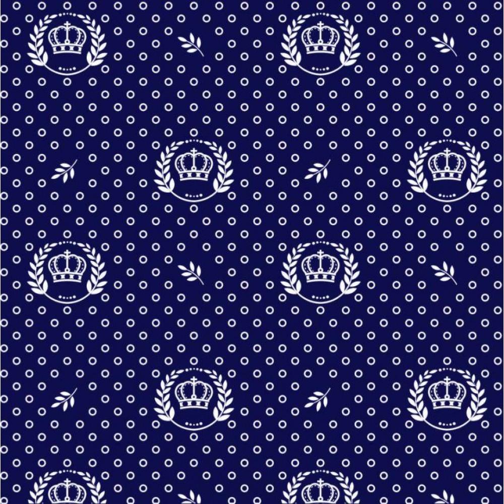 Tecido Tricoline - Poá com Coroa - 100% Algodão - 1,50m largura - Variante 605