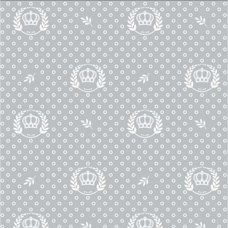 Tecido Tricoline - Poá com Coroa - 100% Algodão - 1,50m largura - Variante 91
