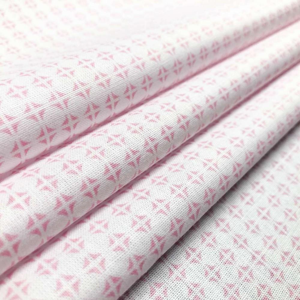 Tecido Tricoline em Promoção - Geométrico - 100% Algodão - Rosa