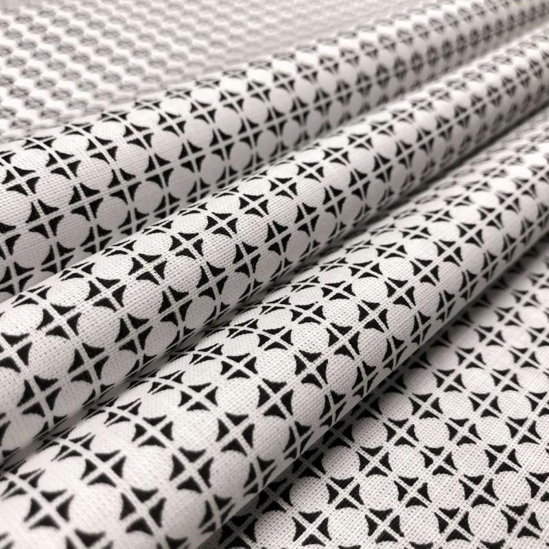 Tecido Tricoline em Promoção - Geométrico - 100% Algodão - Preto