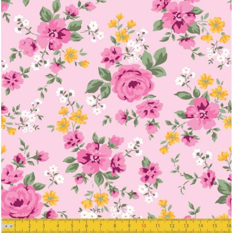 Tecido Tricoline - Ramos de Flores Romantic - 100% Algodão - 1,50m largura - Variante 1